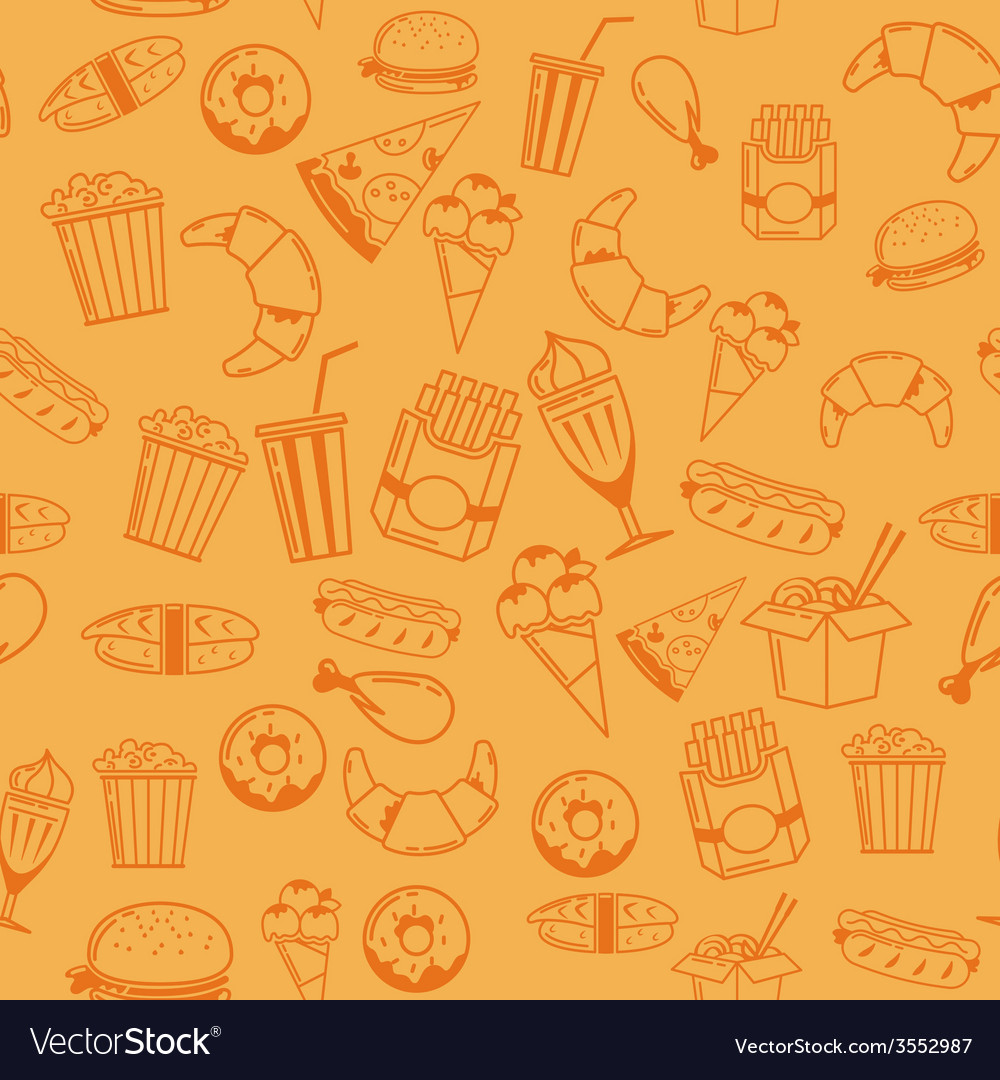 Fast food seamless pattern for web menu cafe and vector