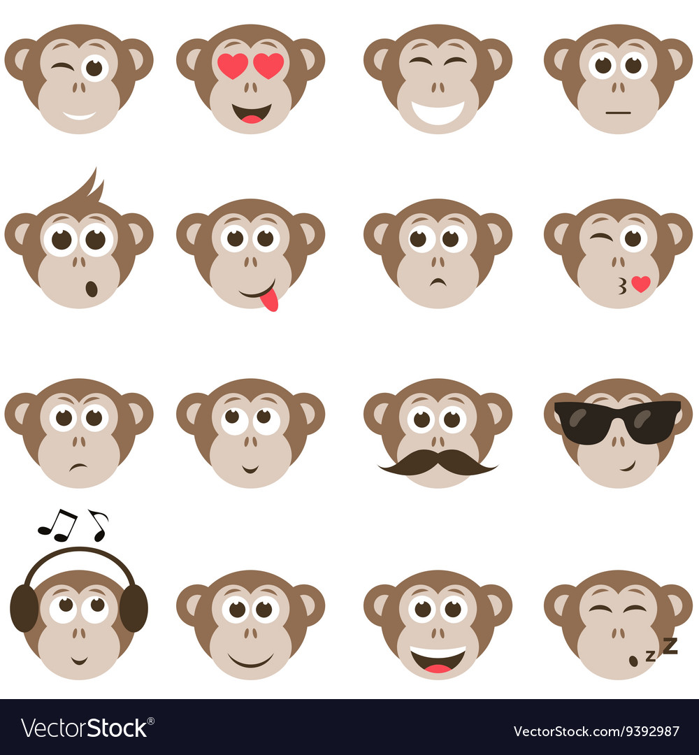 Monkey smiley faces set vector