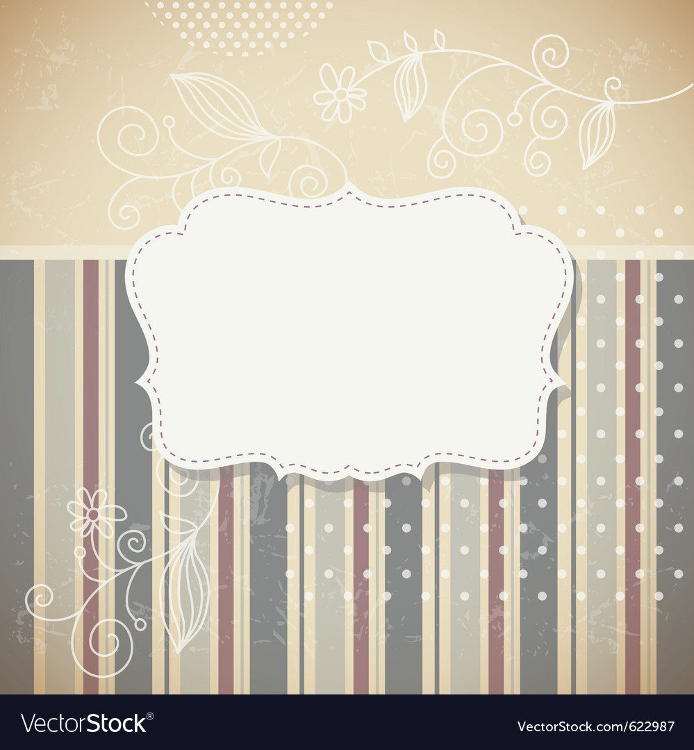 Retro greeting card with floral elements vector