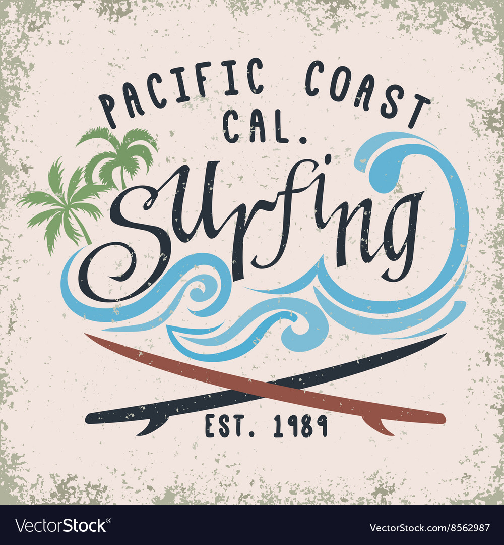 Surfing tshirt graphic design vector