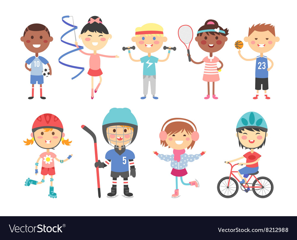 Kids playing various sports games such us hockey vector
