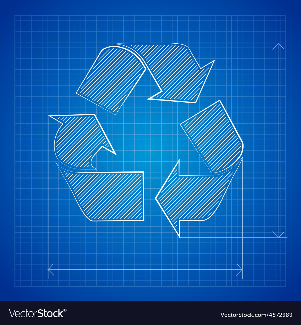 Blueprint recycle symbol vector