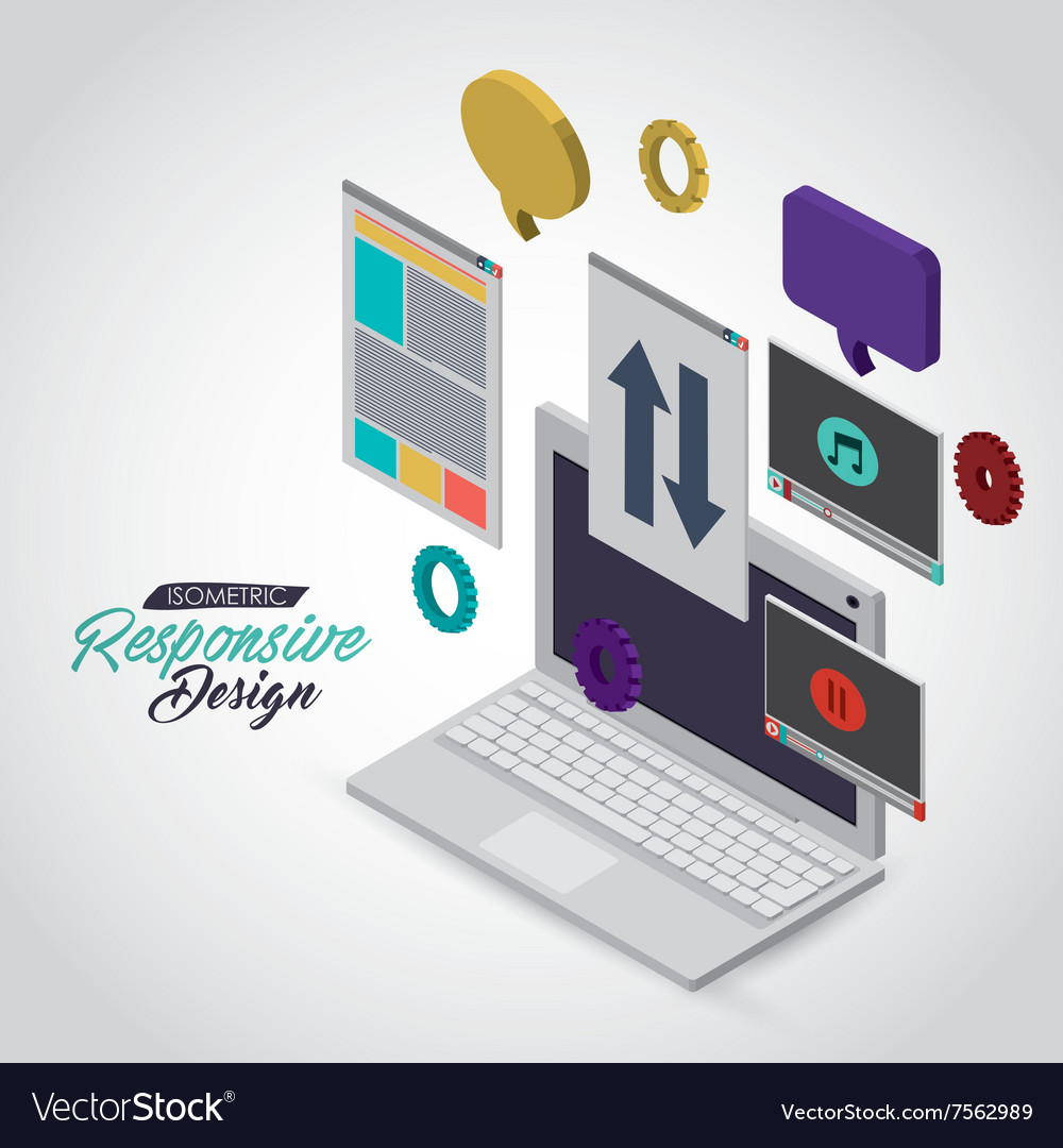 Isometric responsive icon design vector