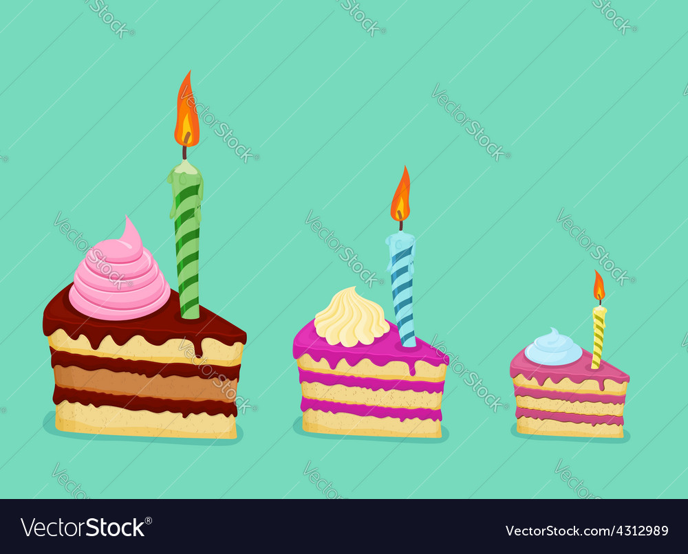 Set of different cake slices for birthday card vector