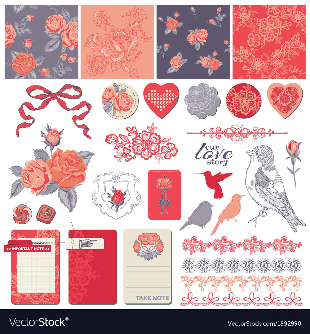 Design elements  vintage roses and birds vector
