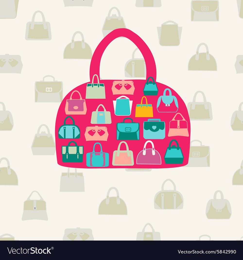 Set bags fwomen bags and handbags fashion vector