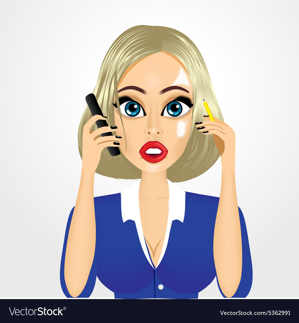 Cartoon realistic secretary talking on the phone vector