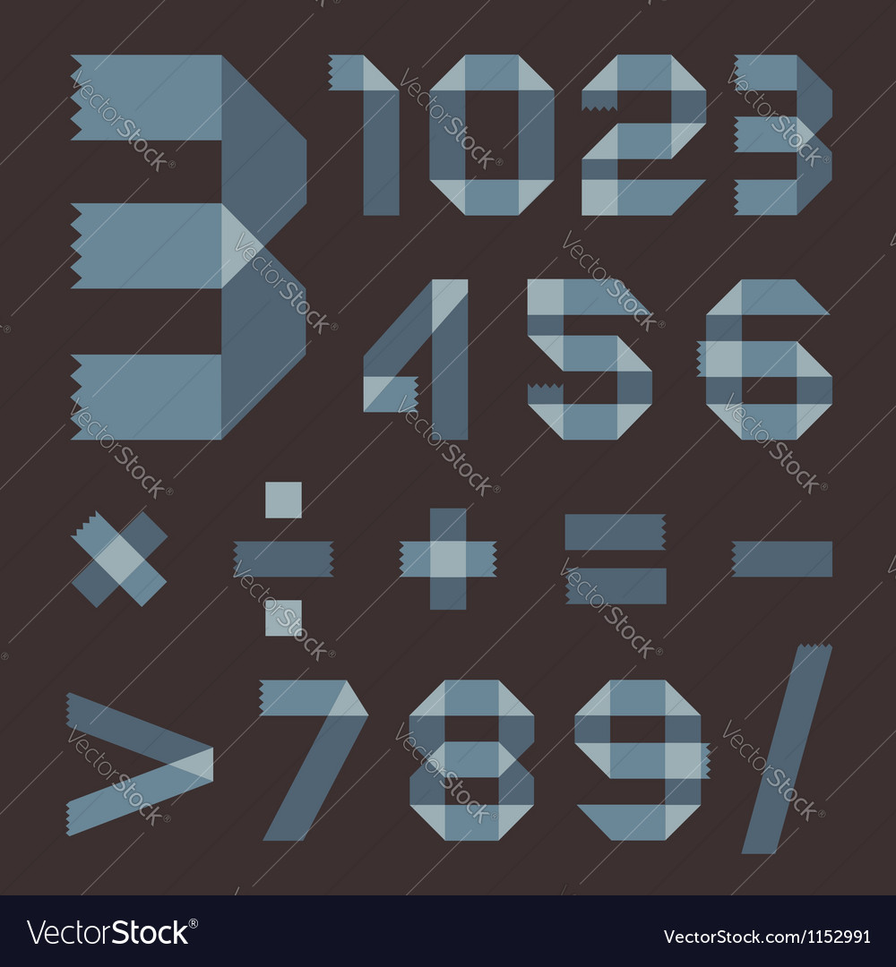 Font from bluish scotch tape  arabic numerals vector