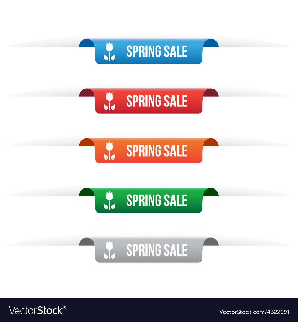Spring sale paper tag labels vector