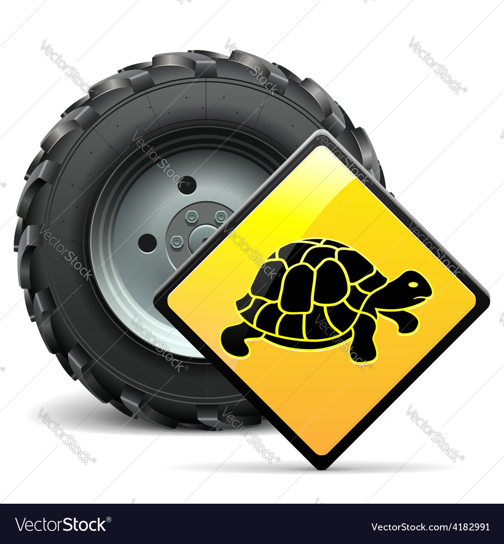 Tractor wheel with sign vector