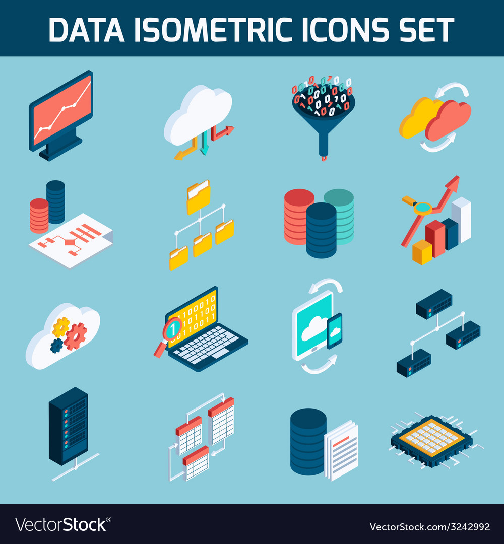 Data analysis icons vector