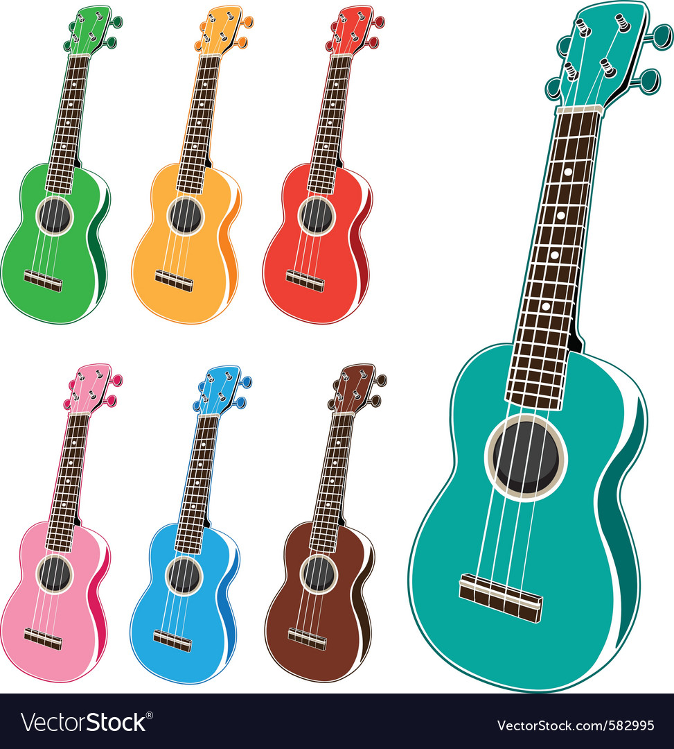 Colorful ukulele set vector