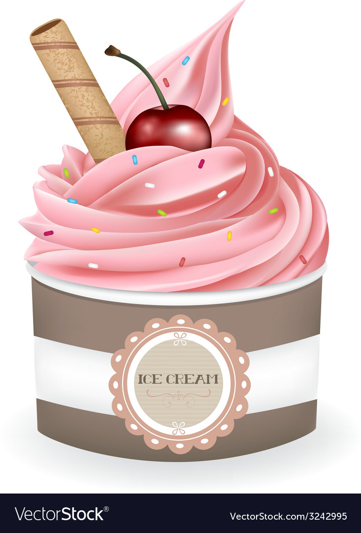 Strawberry ice cream cup vector