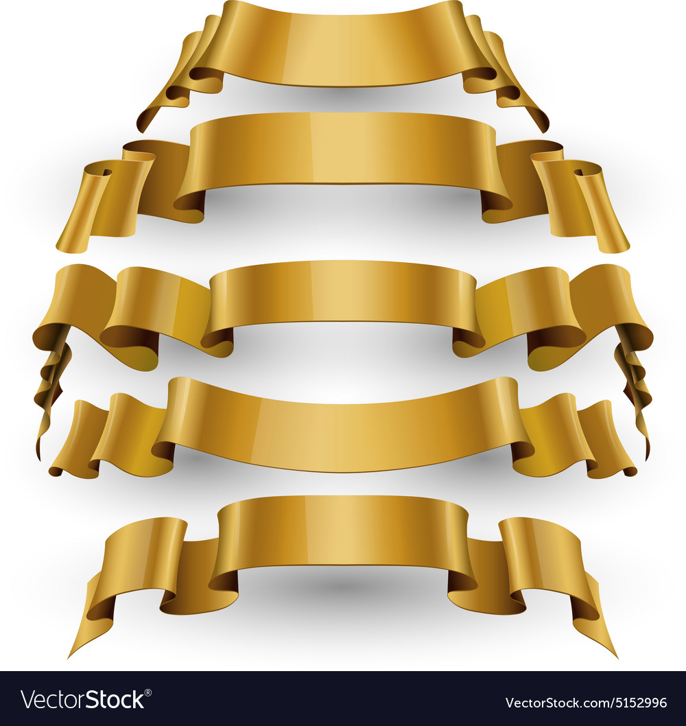 Gold glossy ribbons set vector