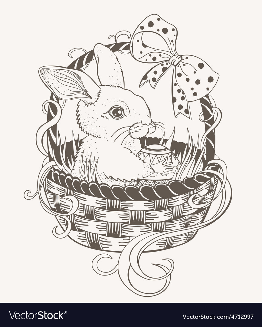 Easter bunny in a wicker basket vector