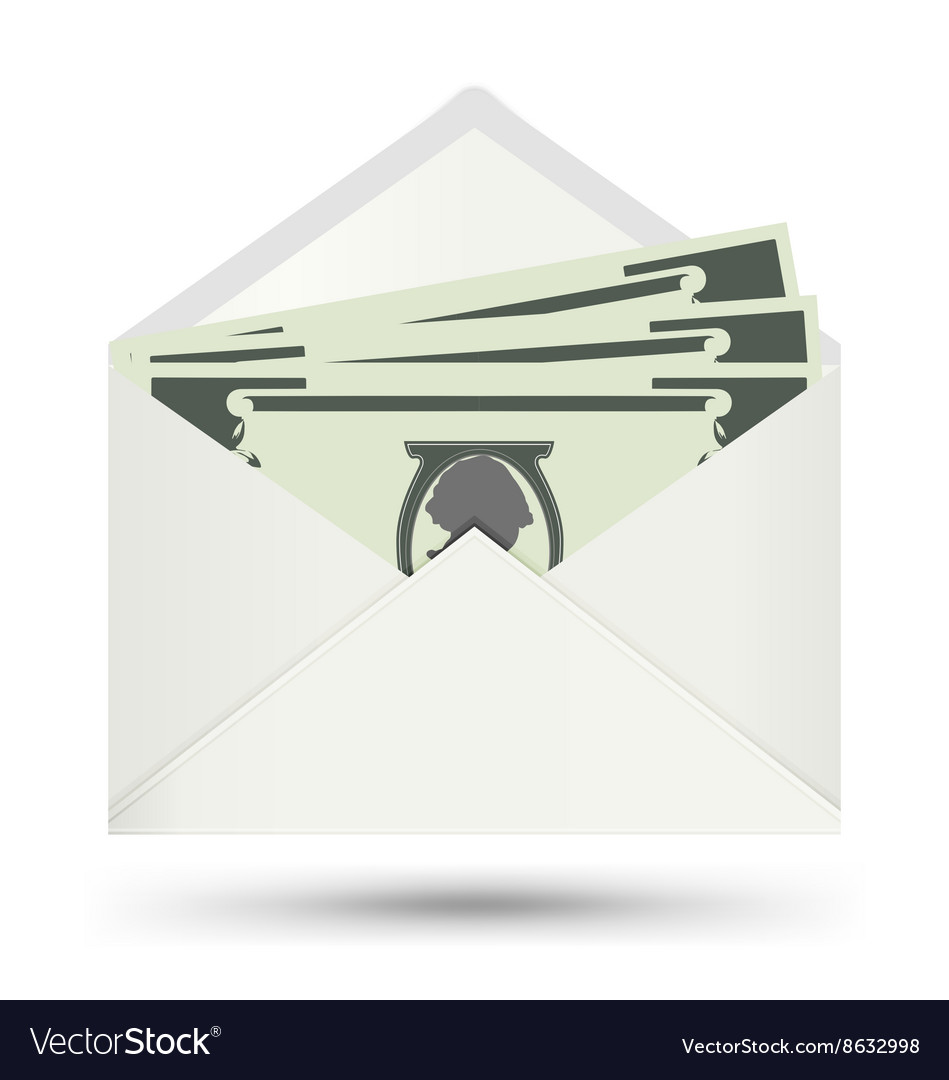 Dollar in white envelope icon vector