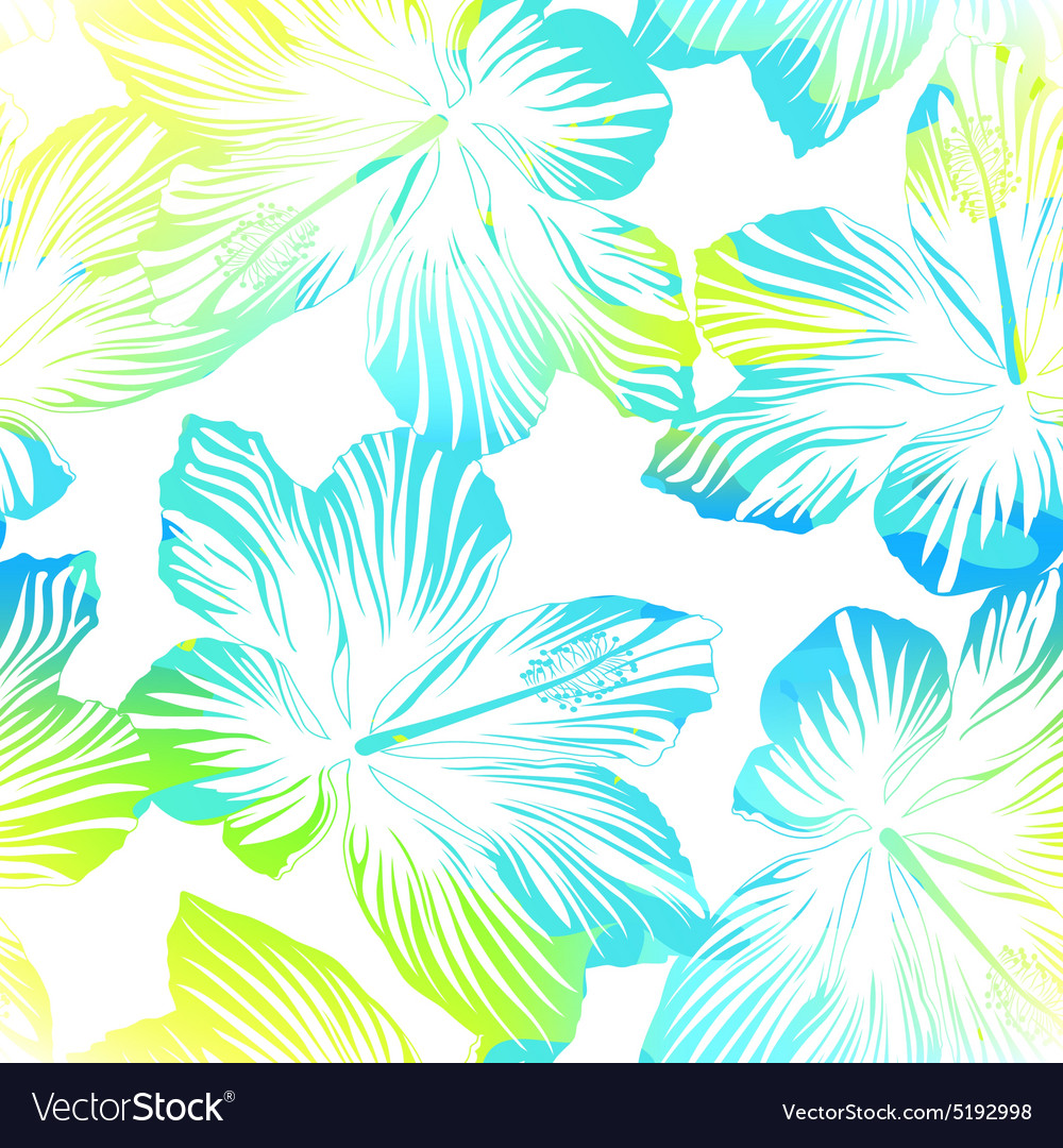 Tropical flowers white seamless pattern with vector