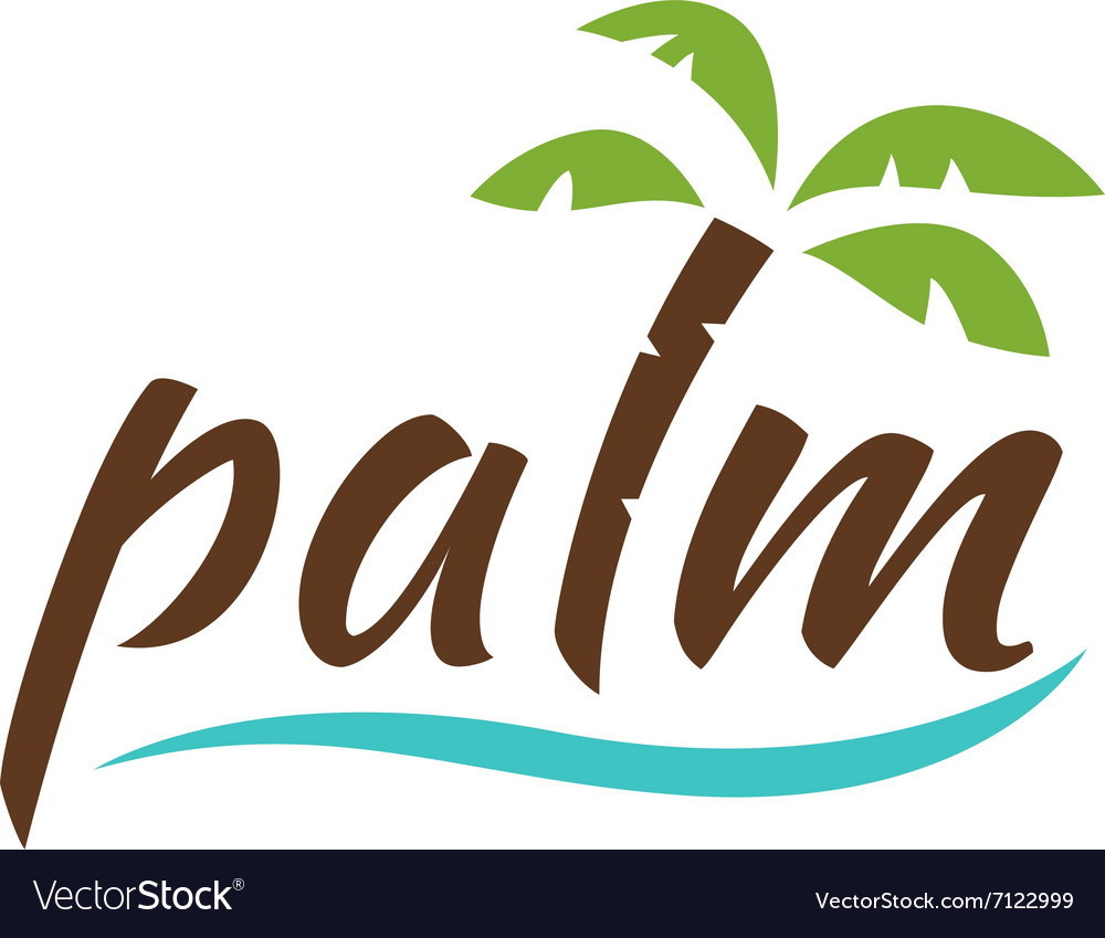 Water with palm logo for holiday business vector