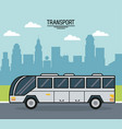 colorful poster of transport with bus on the vector image vector image