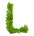 Letter L of green leaves alphabet vector image