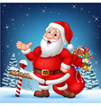 Cartoon funny Santa presenting with a north pole vector image