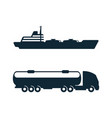 gasoline tanker truck oil ship icon set vector image