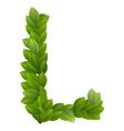 Letter L of green leaves alphabet vector image