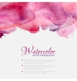 Pink watercolor blots pattern top frame vector image