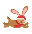 rabbit winter clothes icon vector image
