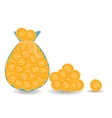 Full bag plus one pile of Gold Coins - vector image