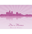 Des Moines skyline in purple radiant orchid vector image vector image