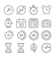 Time and clock icons flat design thin line style vector image