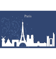 Paris city skyline on blue background vector image vector image
