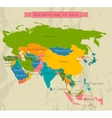 Editable Asia map with all countries vector image
