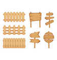 fences of garden and signs with wood texture vector image