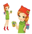 Girl Holding Christmas Decorations vector image