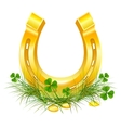 Golden Horseshoe and coins on grass clover vector image