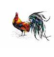 Pattern with farm rooster silhouette vector image