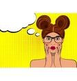 Pop art surprised brunette woman face vector image