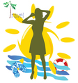 travel girl with mobil phone vector image