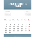 December 2013 calendar design vector image