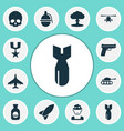 combat icons set collection of bombshell order vector image