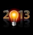 twenty thirteen year light bulb on black vector image vector image