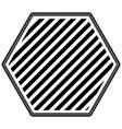 hexagon emblem striped in monochrome silhouette vector image