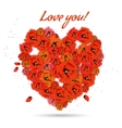 Floral decorative heart with poppies vector image