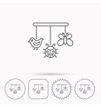 Baby toys icon Butterfly ladybug and bird sign vector image