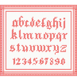 Christmas Font knitted gothic alphabet vector image