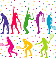 Tennis players silhouette collection vector image