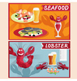 lobster and seafood restaurant cartoon vector image