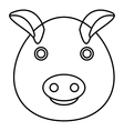 Pig icon outline style vector image
